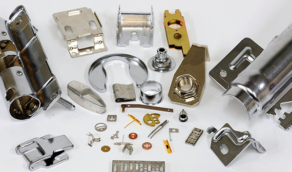 Assorted custom metal stampings, sheet metal stampings and stamping production